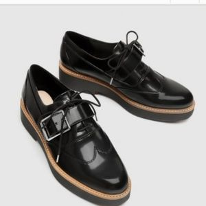 Zara platform black shoes with buckle detail